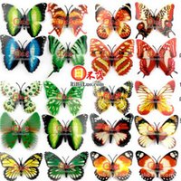 Wholesale 1Pack Cute D Artificial Butterfly Luminous Fridge Magnet Decor For Home Christmas Wedding Decoration