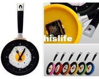 Wholesale 24pcs DHL Creative Household wall clock fried eggs pan shaped clock colors