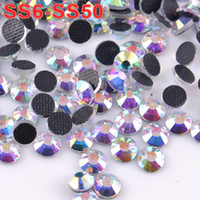 Wholesale Top Quality SS6 SS50 Glass Material Clear Crystal AB Gold Light DMC Hotfix Flat Back Rhinestones For DIY Accessories