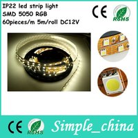 Cheap New Arrival RGB LED Strips SMD5050 60 qcs m 5 Meters Set DC12V Adapter IP22 let spot strip light