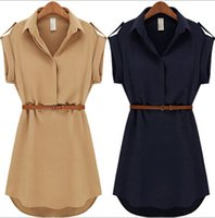 Casual Dresses Plus Size Dresses Summer With Belt! 2015 Women Summer Dress V-Neck Short A-Line Solid Plus Size Chiffon Casual Dress For Party Beach Office Free Shipping