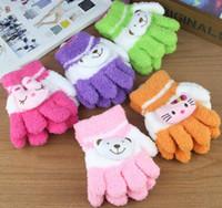 Wholesale Children Five fingers gloves kids Winter Coral fleece gloves boy girl gloves children s mittens pairs ST10