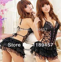 Wholesale w1029 New Sexy Costumes Details Sexy Lingerie Hot Dress Underwear Backless Lace Set Erotic Lingerie G string Black White