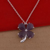 Cheap Trade jewelry wholesale 925 sterling silver necklaces Crystal Clover Necklace Korean pop a lot of cash