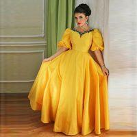 arabian wear - Arabian Design New Prom Dresses Yellow V Neck Beaded Half Sleeves Puffy Ball Gown Long Arabic Dress Evening Wear Vestidos De Fiesta