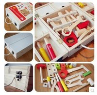 Wholesale Christmas gifts Baby Toys Luxury Hand Wooden Tool Box Educational Nuts Assembling Baby Toys Christmas gift For Boy