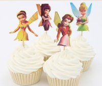Wholesale Adorable Flying Fairy Tinkerbell Cup cake Topper Pick princess tinkerbell event party supplies birthday party decoration JIA019