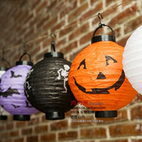 Wholesale Halloween pumpkin lantern Halloween spider decoration folded paper lanterns white skull bats