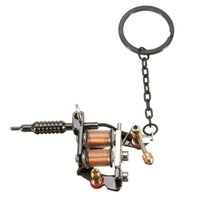 Wholesale 1PC Unique Design Gunmetal Mini Tattoo Machine With Key Chains And Key Ring Tattoo Tattoo Supplies cmx4cm quot x1 quot
