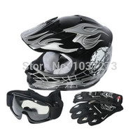 Wholesale US Stock DOT Youth Kids ATV Motocross Dirt Bike Black Skull Helmet w Goggles Gloves S M
