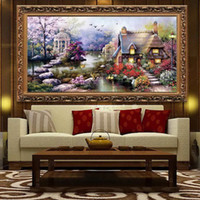 Wholesale Handmade DIY Cross Stitch Embroidery Kit Garden Cottage Design Home Decoration inch