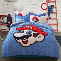 Wholesale Super Mario Kids Bedding Set Blue Beige Reversible Duvet Cover Set For Boys Flat Sheet Bedspread with Pillowshams Bed in Bag