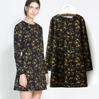 Cheap Free Shipping 2014 Hot Sale New Fashion Top Quality Women Print Neck Full Sleeve Chiffon Comfortable Beautiful Dress A0165