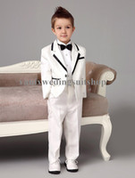 Wholesale 2015 Luxurious white Bearer Suits trend Boys Tuxedo With Black Bow Tie kids formal dress boys suits Jacket Pants Tie Free Shiping