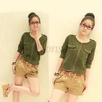 Wholesale Hot Selling New Designers M XL Short Coat Women Fashion Slim Short Small Jacket Black Army Green CB029420