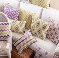 purple car seat covers - Purple yellow geometric pillow almofadas case for seat chair car bed boho cushion cover decorative throw pillows