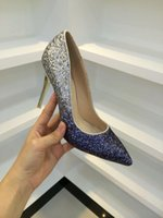 beautiful shoes - Beautiful Sequins Women Stiletto Heel Pointed Toe Gradient Color Wedding Evening Shoes Dress Shoes For Party