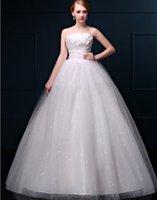 Wholesale women s Wedding Dress Strapless Ball Gown Bandage Dress Crystal Appliqued Wedding Formal Elegant Dress Lace Up floor length Drop Shipping