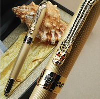 best fountain pen - JINHAO luxury golden Fountain Pen with best golden dragon carving School Office Supplies writing Smooth brand ink Pen gifts