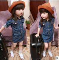 jean dresses and skirts - Fashion Girls Denim Skirt Jean skirts New Year Old Children s Princess Dress Spring and Autumn Long Sleeve One piece Dress