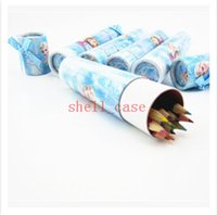 best paint brush - 19 cm Frozen Color Pencil Students Painting Pens Colors Anna Elsa Brush Pot Children Stationery Set Christmas Best Gift Winter