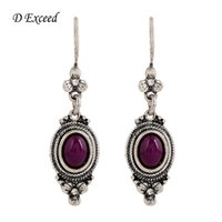 antique nickel chandelier - Long Drop Earring for Girl Indian Jewelry Ethnic Purple Beaded Brincos Grandes Antique Silver Plated Fashion Nickel Free Earing ER154373