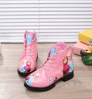 Wholesale Winter new girl s children Lace Up Martin boots Girls snow boot Kids cotton Elsa Anna shoes