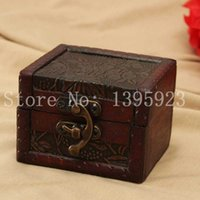 Wholesale Retro Multi Pattern Small Metal Lock Jewelry Storage Organizer Storage Case Wood Box Wooden Christmas Gift