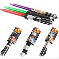 Wholesale 300pcs CCA2981 New Arrival Star Wars Cosplay Lightsaber With Light And Sound Elastic Light Sabers Star Wars Darth Vader Weapon Laser Sword