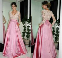 Wholesale Shiny Elegant Dress - 2015 Elegant empire waist A line satin Evening Dresses with long sleeves shiny lace top seqins V neck sweep train prom party gowns