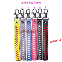baseball pitches - Hot Sale New Softball Seamed Leather Keychains Baseball Fast Pitch Keychains Multiple Colors You Choices Size width cm Length cm