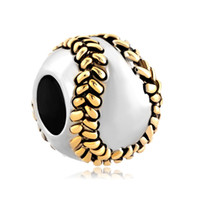 baseball bead - MYD Jewelry Large Hole Metal Sports Bead Sewing Baseball Slider European Loose Charms Fits Pandora Bracelet