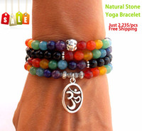 Wholesale SN0069 Mala Chakra bracelet or necklace chakra Yoga Meditation bracelet for women pure natural stone