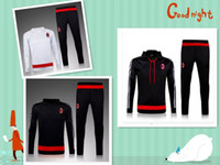 ac cap - Fall new Ac Milan soccer tracksuits jackets AC Milan chandal futbol training suits Hooded with cap Sportswear survetement kits