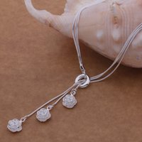 pendant flower rhinestone - with tracking number Best Most Hot sell Women s Delicate Gift Jewelry Silver layer chain rose Necklace