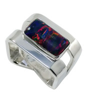 Wholesale Luxury square opal with square shank in silver fashionable dignity ring for lady for R420