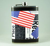 american flag flask - American Stars and Stripes Flag Portable Stainless Steel Hip Flask oz Leather Whiskey Alcohol Pocket Wine Flasks Personalized