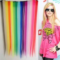 Wholesale New quot Long Hair Pieces Solid Colored Colorful Clip On In Hair Extension Hightlight Color High Quality Machine Made Hair Synthetic Hair