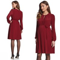 Wholesale 2016 New Arrival Party Dresses for Women Sexy Jewel Neck Long Sleeve Elegant A Line Red Wine Chiffon Cocktail Celebrity Dress Knee Length