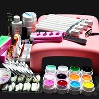 Wholesale Pro W UV GEL Pink Lamp Color UV Gel Nail Art Tool Kit Set