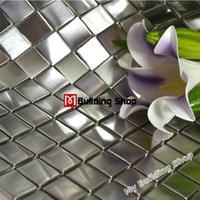 mosaic tile - Silver metal mosaic tile SMMT038 square stainless steel metallic mosaic wall tiles backsplash mosaic tiles