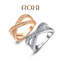 Wholesale ROXI gift to girl X rings top quality make with genuine SWR crystal hand made fashion jewelry