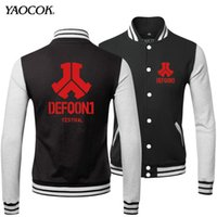 band uniforms - Fall New Hot Fashion Winter Clothing Hip Hop Coats Uniform Printed Defqon Punk Rock Band Sweatshirt Baseball Bomber Jacket Men