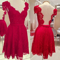 Wholesale 2015 Sexy Red Lace Cocktail Dresses Backless Mini V Neck Cap Sleeve Short Prom Party Dress In Stock Graduation Homecoming Queen Dress Gowns