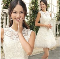 Wholesale White Lace Formal Cocktail Dresss Sweet Short Wedding Party Dress Elegant Slim Cut Homecoming Dresses
