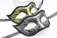 Wholesale Venetian masquerade ball masks Old fashioned knight mask Festive party supplies Handmade half face gold silver colors plastic with lace