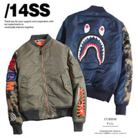 badge military - New Fashion Hip Hop Men Jacket Shark Embroidery Windbreaker Baseball Camo Camouflage Military Sport Outwear Badge Down Coat