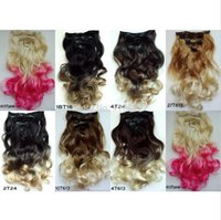 Wholesale 7pcs set Ombre Hair Curly wavy Extensions Colorful Hair Clip in Hair Extensions Clip on Hairpieces Synthetic Hair Extensions