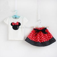 Wholesale Brand Baby Girls clothing Sets Girls Minnie Mouse short sleeved T shirt skirt suits retail kids clothing sets baby clothes