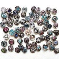 Wholesale High quality Mix Many styles new fation mm Metal Snap Button Charm Rhinestone Styles Button Ginger Snaps Jewelry